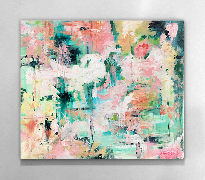 abstract painting on a white wall